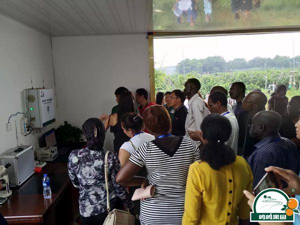 研修班学员一行参观鸣鸣果园水肥一体化自动滴灌控制室